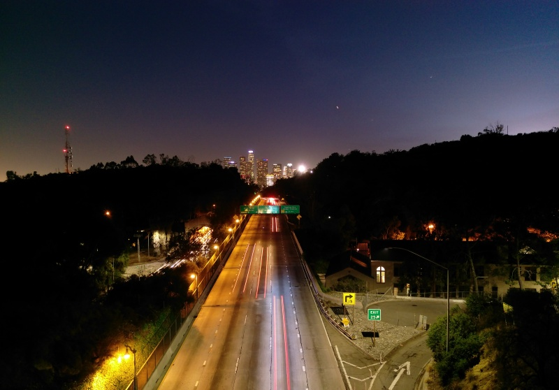Lights on the freeway with a two second shutter speed