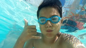 My son underwater
